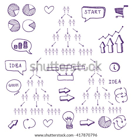 Pen hand drawn doodle business timeline element for Infographic. For business projects templates for presentation and training. Simple Editable Graphic infographics elements. Vector illustration.