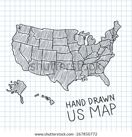 Pen hand drawn USA map vector on paper illustration. - stock vector