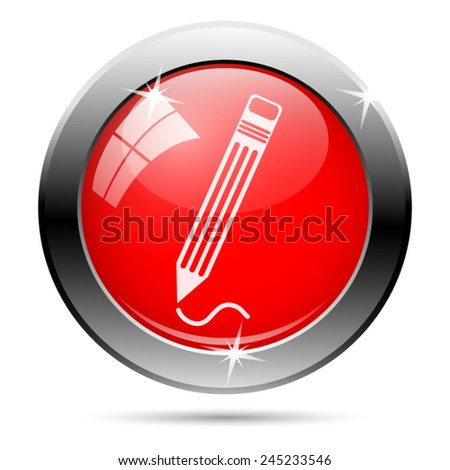 Pen icon. Internet button on white background.