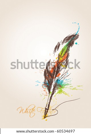 Pen in the form of the bird's feather on the beige background. Vector illustration. - stock vector