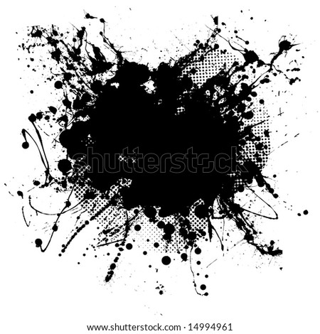 Pen ink and half tone black blob with copy space - stock vector