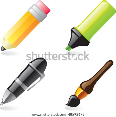Pen, pencil, marker and brush icons - stock vector