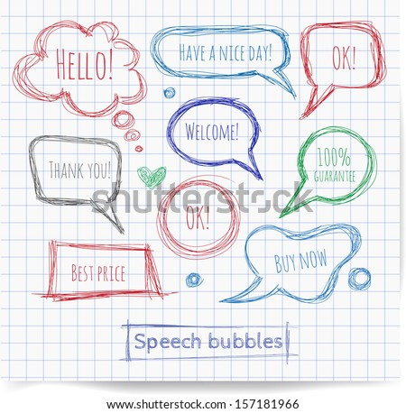 Pen sketch speech and thought bubbles. Vector illustration.  - stock vector