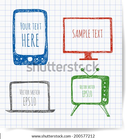 Pen sketches of mobile phone, old TV set, computer monitor, and notebook on squared paper. Vector illustration.  - stock vector