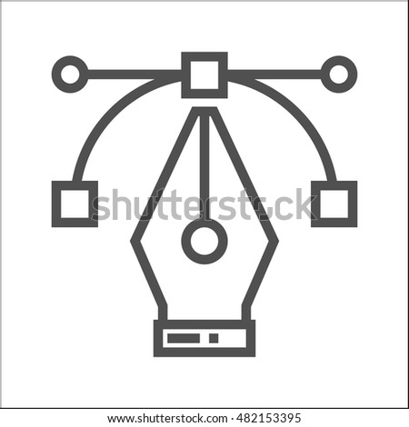 pen tool thin line vector icon stock vector royalty free 482153395