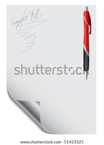 Pen with paper - stock vector