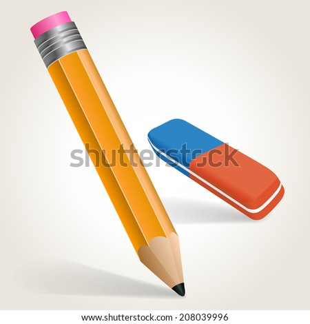 Pencil and eraser, vector illustration - stock vector