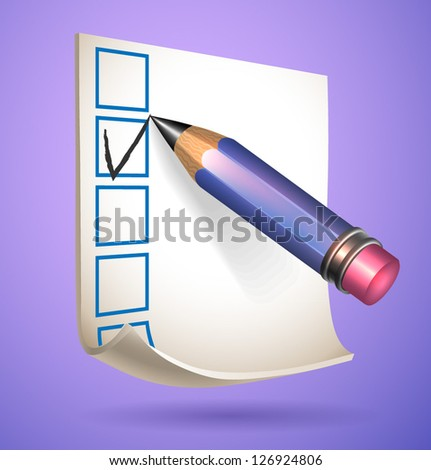 Pencil and note with options - vector illustration for your business presentations. - stock vector
