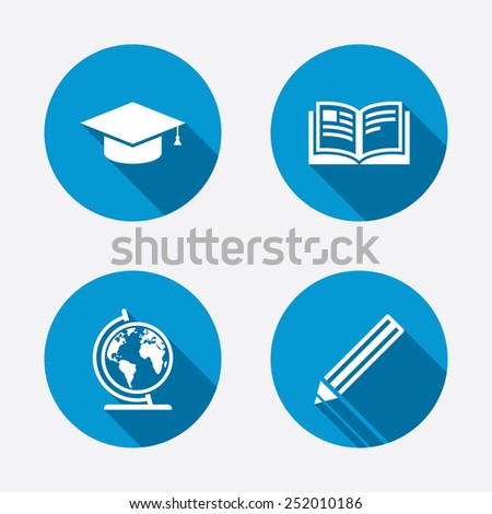 Pencil and open book icons. Graduation cap and geography globe symbols. Education learn signs. Circle concept web buttons. Vector - stock vector