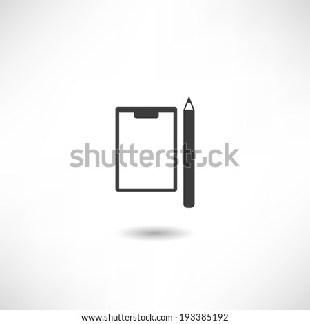 Pencil and Paper icon - stock vector