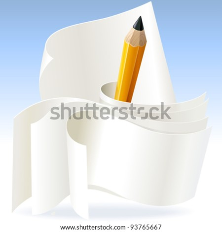Pencil and Papers - stock vector