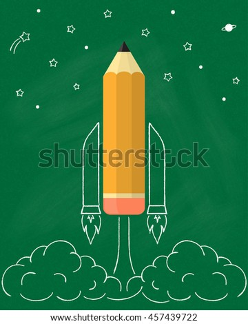 Pencil as space rocket launch sketched over chalkboard texture. Education, smart design, project start up, creative idea concept