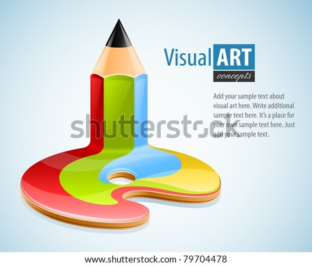 pencil as symbol of visual art vector illustration - stock vector