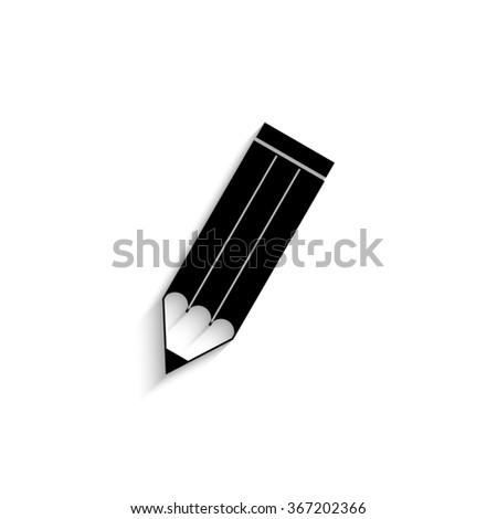 pencil - black vector icon  with shadow - stock vector