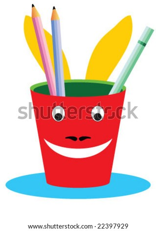 Pencil box in a glass shape - stock vector