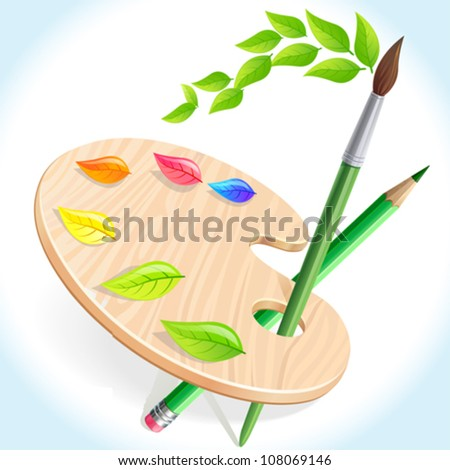 Pencil , brush and color pallet - stock vector