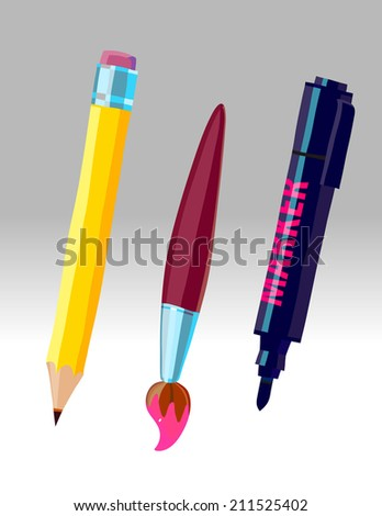 Pencil, brush and marker - stock vector