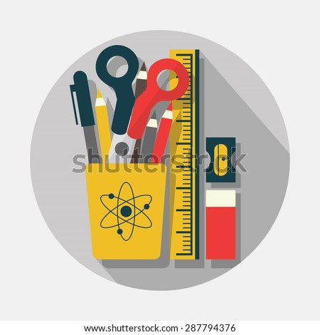 Pencil case, pencils, scissors, ruler, sharpener, and eraser icons with long shadow on gray background - Modern flat design - stock vector