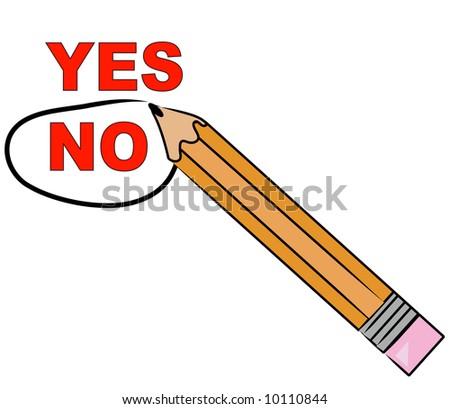 pencil choosing no and circling it - vector - stock vector