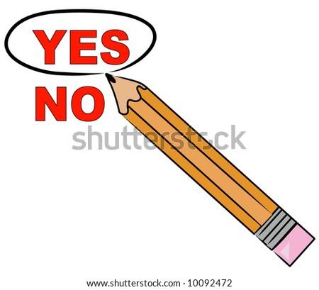 pencil choosing yes and circling it - vector - stock vector
