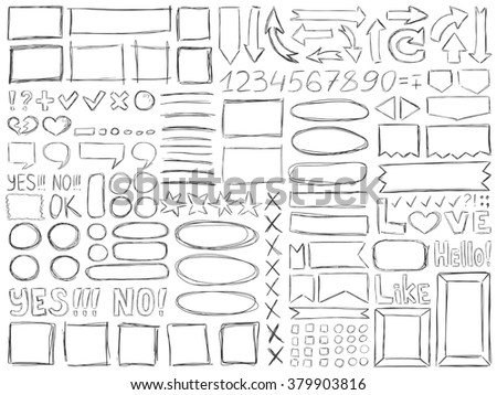 Pencil doodles effect. Simple doodling collection. Drawn symbols, numbers, arrows and frames set. Vector illustration. Line art signs and symbols. - stock vector