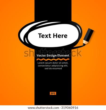 Pencil drawing doodle ellipse frame. Vector  Flat Design Elements. Flyer template. - stock vector
