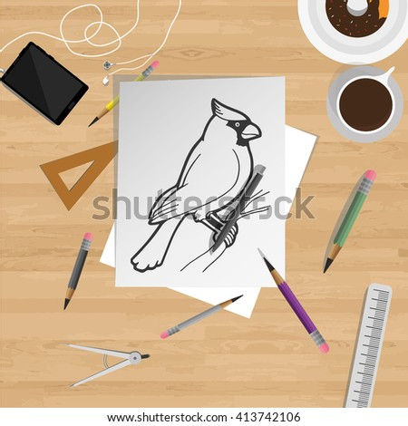 Pencil drawn bird on a top view desk with graphic instruments, and smartphone with earphones.