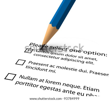Pencil filling up the questionnaire on white paper - vector illustration
