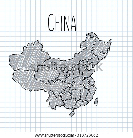 Pencil hand drawn China map vector on paper illustration. - stock vector