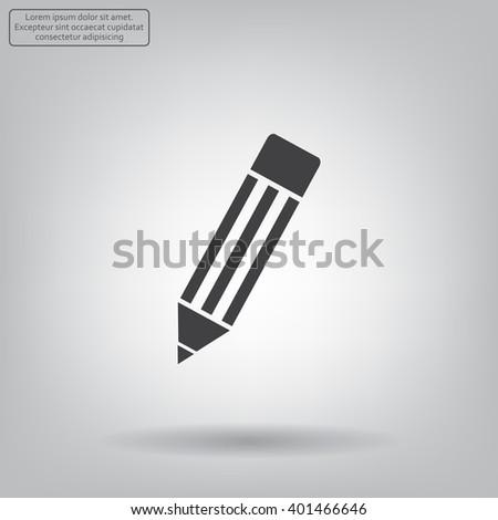 Pencil icon, flat design - stock vector