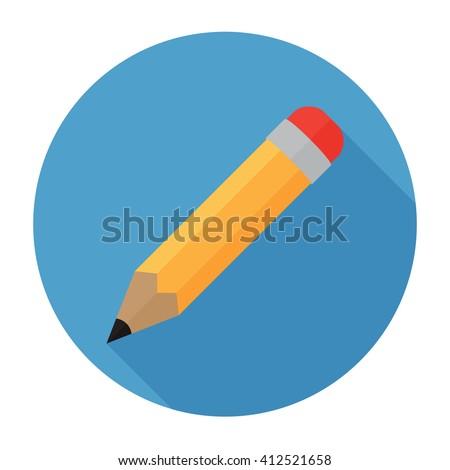 Pencil Icon Flat Vector Illustration Logo Stock Photo Photo Vector