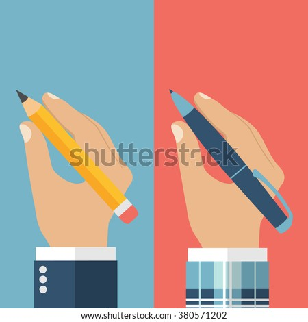 Pencil in hand. Pen in hand. A man holding a pencil and pen. Vector illustration, flat design. Writer, journalist, student. Hand writing man. Hand Set with pen and pencil. - stock vector