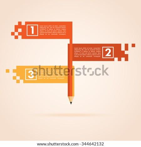 Pencil infographic design. Three board in different colors. - stock vector