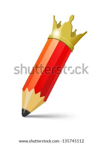Pencil King. Vector illustration - stock vector