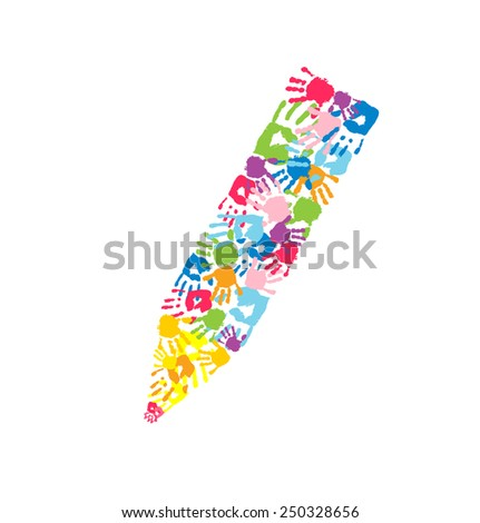 Pencil made of the hand prints. Symbol of art, education and teamwork  - stock vector