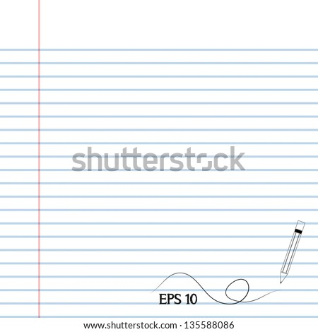 Pencil notebook paper - stock vector