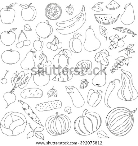 pencil pattern of fruit and vegetables icons pattern with black lines on a white background, Pattern for coloring book