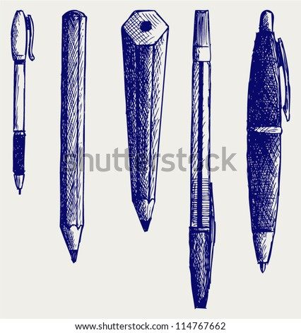 Pencil, pen and fountain pen icons. Doodle style