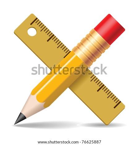 Pencil, ruler. Vector illustration. - stock vector