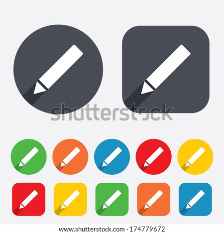Pencil sign icon. Edit content button. Circles and rounded squares 12 buttons. Vector - stock vector