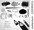 Pencil sketch design elements. - stock photo