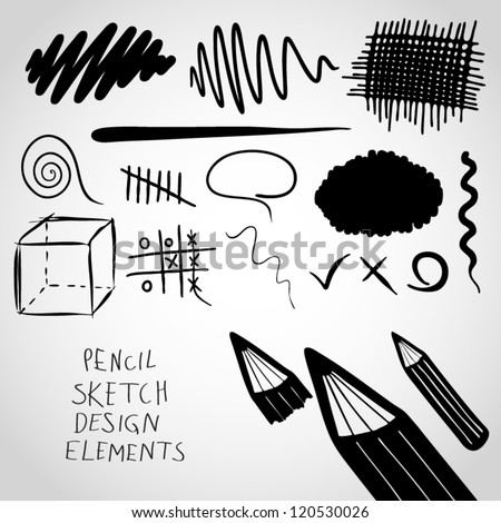 Pencil sketch design elements. - stock vector