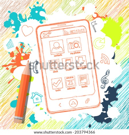 Pencil sketch. Mobile phone applications, pencil. Illustration can be used in web design, cards, infographics, computer design - stock vector