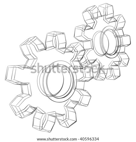 Pencil sketch stylized 3D cogwheels isolated on white background. - stock vector