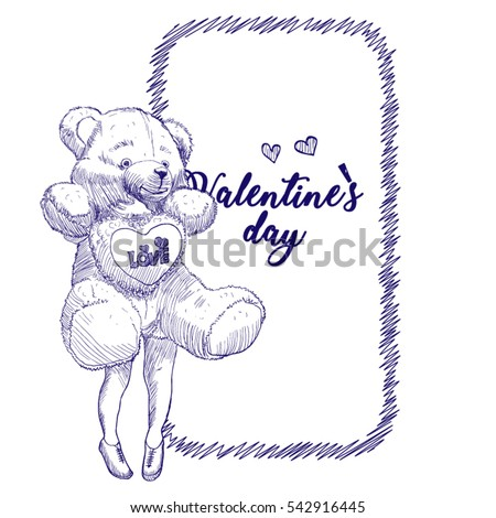 Pencil sketch template for design or greeting card invitation card for the holiday valentines