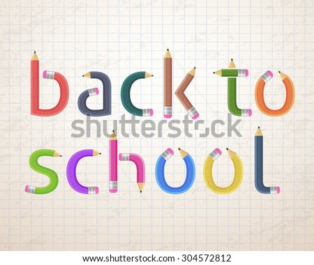 Pencil Style Back to School Typographic Text - stock vector