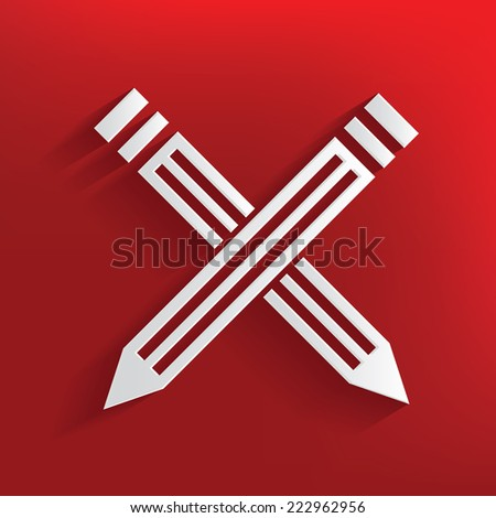 Pencil symbol on red background,clean vector - stock vector