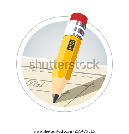 Pencil with eraser for drawing. Eps10 vector illustration. Isolated on white background - stock vector