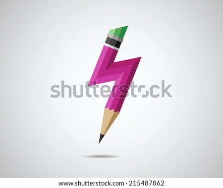 Pencil with lightning. Vector illustration of new idea.  - stock vector