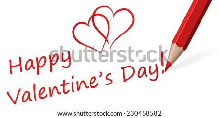 "Pencil with Text "" Happy Valentine's Day! "" - stock vector"